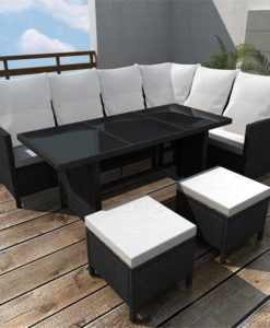 vidaXL Poly Rattan 8 Person Lounge Set Black