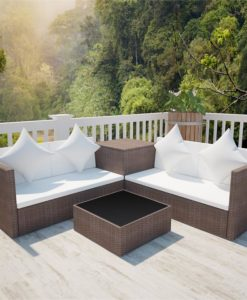 vidaXL Brown Poly Rattan Lounge Set with Storage Chest