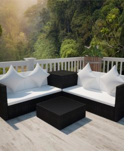 vidaXL Black Poly Rattan Lounge Set with Storage Chest