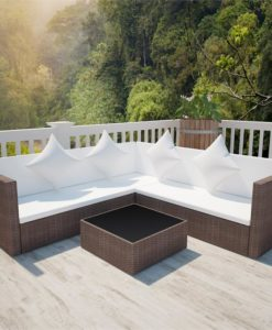 vidaXL Brown Poly Rattan Lounge Set with Two-seat Sofa