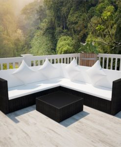 vidaXL Black Poly Rattan Lounge Set with Two-seat Sofa
