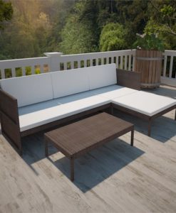 vidaXL Brown Outdoor Poly Rattan Lounge Set Three-Seat Sofa