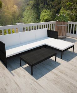 vidaXL Black Outdoor Poly Rattan Lounge Set Three-Seat Sofa