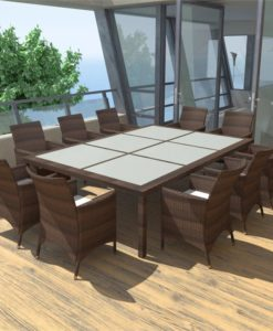 vidaXL Outdoor Dining Set Poly Rattan Brown