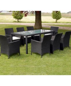 vidaXL 17 Piece Garden Furniture Set Black Poly Rattan