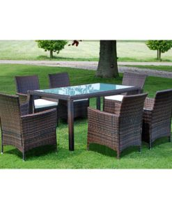 vidaXL 13 Piece Garden Furniture Set Brown Poly Rattan