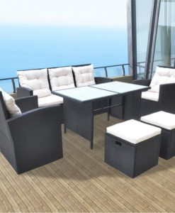 vidaXL 18 Piece Outdoor Dining Set Poly Rattan Black