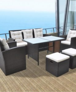vidaXL 18 Piece Outdoor Dining Set Poly Rattan Brown