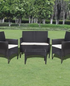 vidaXL Seven Piece Garden Lounge Set Poly Rattan Black