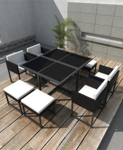 vidaXL 21 Piece Outdoor Dining Set Black Poly Rattan