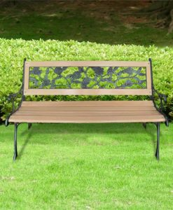 vidaXL Garden Bench with Rose-patterned Backrest