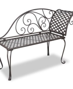 vidaXL Metal Garden Chaise Lounge Antique Brown Rose-patterned