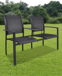 vidaXL Steel 2-Seat Chair Double Black Textilene