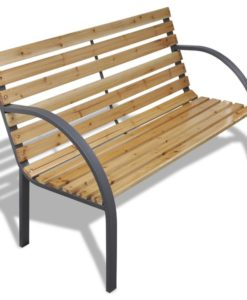 vidaXL Iron Frame Garden Bench with Wood Slats