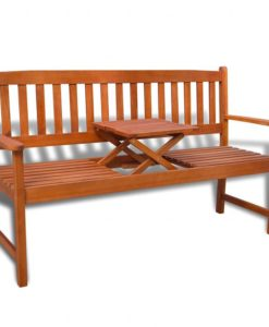 vidaXL Garden Bench with Pop-up Table Acacia Wood