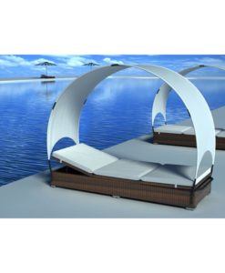 vidaXL Rattan lounge bed brown with umbrella