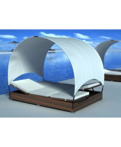 vidaXL Double rattan lounge bed brown with umbrella