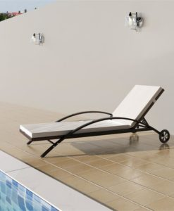 vidaXL Sun bed with cushion adjustable backrest brown