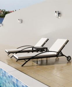 vidaXL Rattan Set with 2 Sunloungers 1 Table Black
