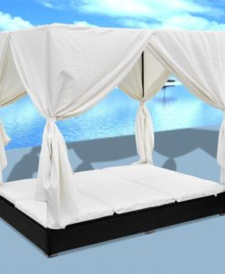 vidaXL Luxury Outdoor Black Rattan Sun Bed 2 Persons with Curtain