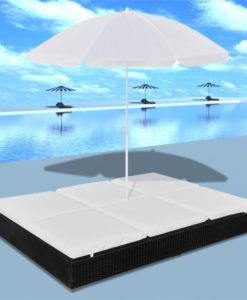 vidaXL Luxury Outdoor Rattan Sun Bed 2 Persons with Parasol Black