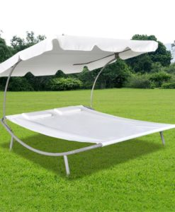 vidaXL Outdoor Double Sun Bed with Canopy & 2 Pillows Cream White