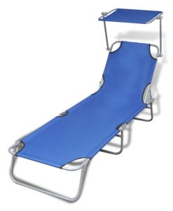 vidaXL Outdoor Foldable Sunbed with Canopy Blue 189 x 58 27 cm
