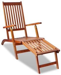 vidaXL Outdoor Deck Chair with Footrest Acacia Wood