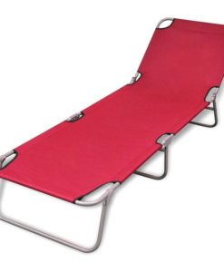 vidaXL Foldable Sun Lounger with Adjustable Backrest Red