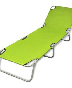 vidaXL Foldable Sun Lounger with Adjustable Backrest Apple Green