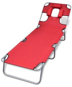vidaXL Folding Sun Lounger with Head Cushion and Adjustable Backrest Red