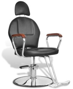 vidaXL Professional Barber Chair with Headrest Artificial Leather Black