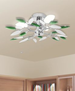 vidaXL Ceiling Lamp Acrylic Crystal Leaf Arms 3 E14 Bulbs