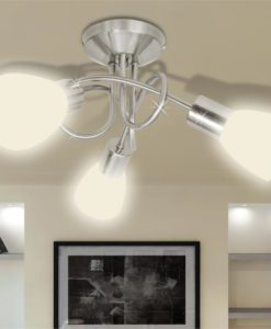 vidaXL Ceiling Lamp with Glass Shades for 3 E14 Bulbs