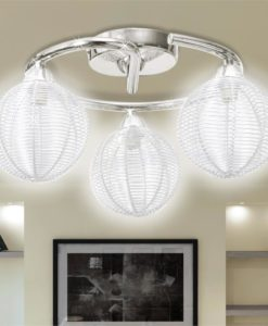 vidaXL Ceiling Lamp Mesh Wire Shades on Round Rail for 3 G9 Bulbs