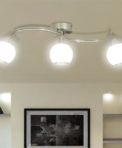 vidaXL Ceiling Lamp with Glass Shades on Waving Rail for 3 E14 Bulb