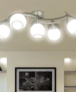 vidaXL Ceiling Lamp with Glass Shades on Waving Rail for 5 E14 Bulb