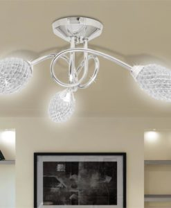 vidaXL Ceiling Lamp with White Acrylic Crystal Shades for 3 G9 Bulb