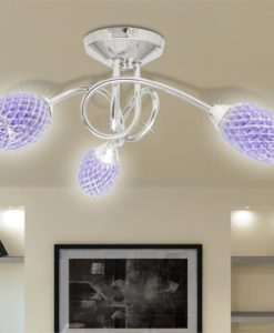 vidaXL Ceiling Lamp with Purple Acrylic Crystal Shades