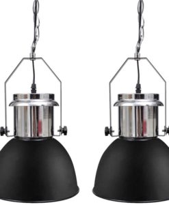 vidaXL Modern Black Metal Ceiling Lamp 2 pcs