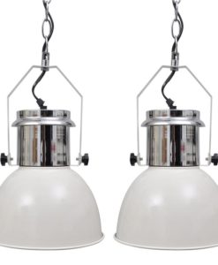 vidaXL Modern White Metal Ceiling Lamp 2 pcs