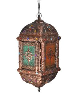 vidaXL Multicolour Metal and Crystal Pendant Lamp with Glass Doors