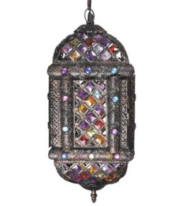 vidaXL Multicolour Metal Pendant Lamp with Crystal Beads