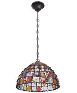 vidaXL Multicolour Round Metal Pendant Lamp with Crystal Beads
