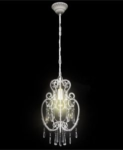 vidaXL White Metal Pendant Lamp with Crystal Beads