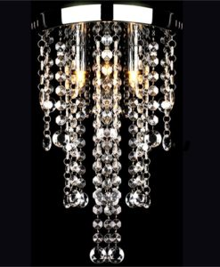 vidaXL White Metal Ceiling Lamp with Crystal Beads