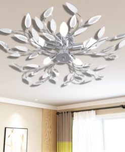 vidaXL Transparent&White Ceiling Lamp Acrylic Crystal Leaf Arms 5 E14 Bulbs