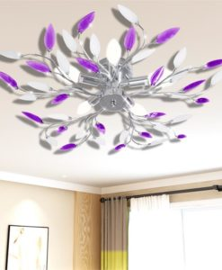 vidaXL Purple&White Ceiling Lamp Acrylic Crystal Leaf Arms for 5 E14 Bulbs