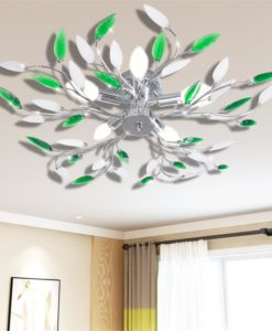 vidaXL Green&White Ceiling Lamp with Acrylic Crystal Leaf Arms for 5 E14Bulbs