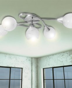 vidaXL Ceiling Lamp with Glass Shades for 5 E14 Bulbs
